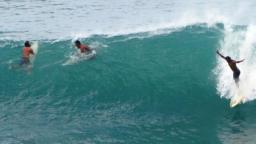 Boosy surfs Bill in Barbados