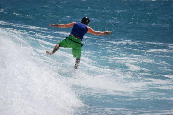 One Foot Balancing Shortboarder