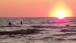 Great Lakes surfers Sunset