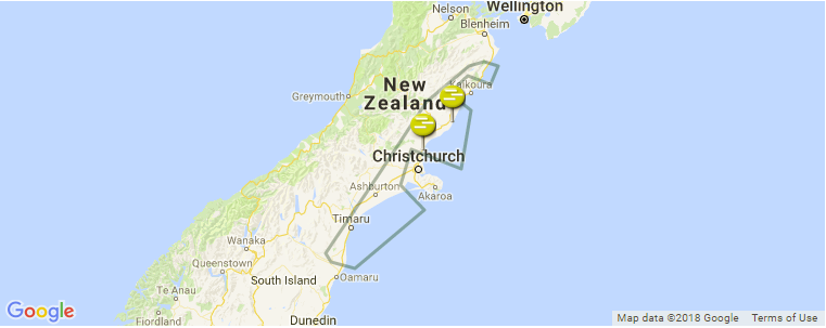 Map Of Canterbury New Zealand.Canterbury Surf Guide Maps Locations And Information