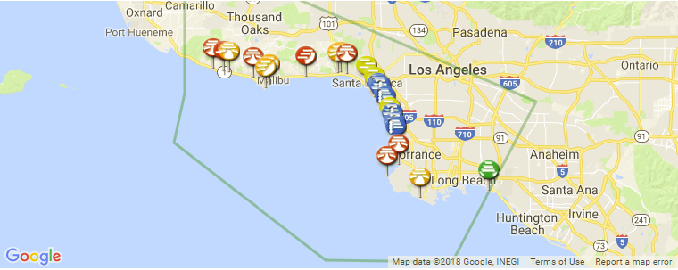 Los Angeles County Surf Guide Maps Locations And Information