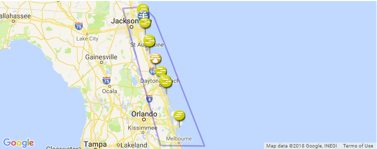 Northern Florida Map.Northern Florida Surf Guide Maps Locations And Information