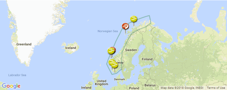 Surf Karte.Surf Spot Locations Maps And Information On Norway In Europe