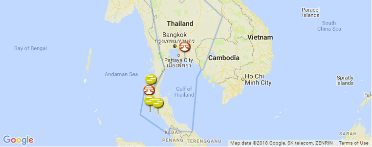 Surf Karte.Surf Spot Locations Maps And Information On Thailand In Asia