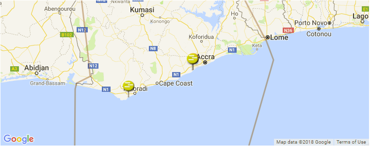 Surf Spot Locations, Maps and Information on Ghana in Africa