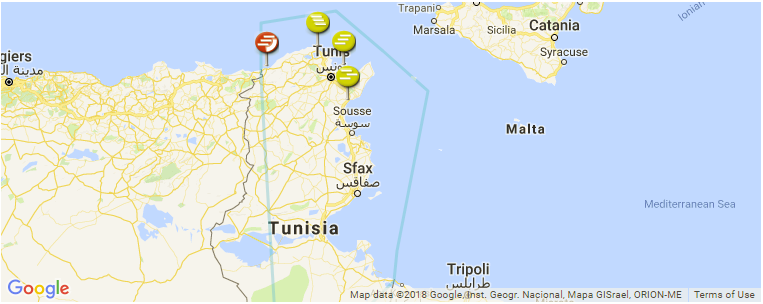 Surf Spot Locations, Maps and Information on Tunisia in Africa