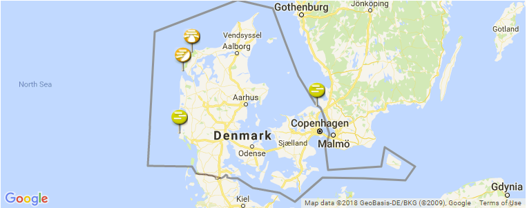Surf Spot Locations, Maps and Information on Denmark in Europe