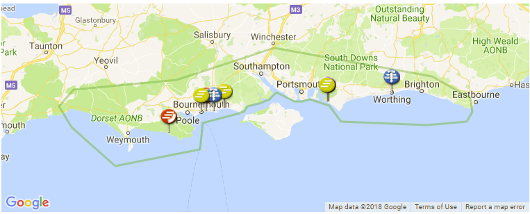 Map Of South England.South Coast Surf Guide Maps Locations And Information