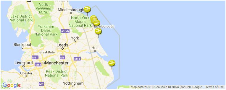 Map Of Uk East Coast.East Coast Of England Surf Guide