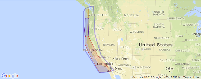 Map Of California To Oregon.West Coast Surf Guide California Oregon And Washington