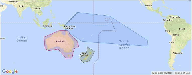 Australia And Pacific Map.Surf Spot Maps And Guides For Australasia Pacific