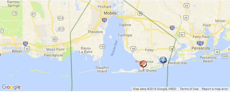 Map Of Gulf Coast Of Florida.Alabama Surf Guide Maps Locations And Information
