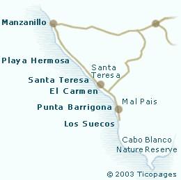 Santa Teresa Surf Spots Map